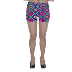 Psychedelic Checker Board Skinny Shorts