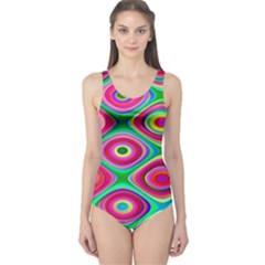 Psychedelic Checker Board One Piece Swimsuit