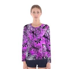 Butterfly Graffiti Women s Long Sleeve T Shirt