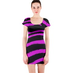 Pink Zebra Short Sleeve Bodycon Dress
