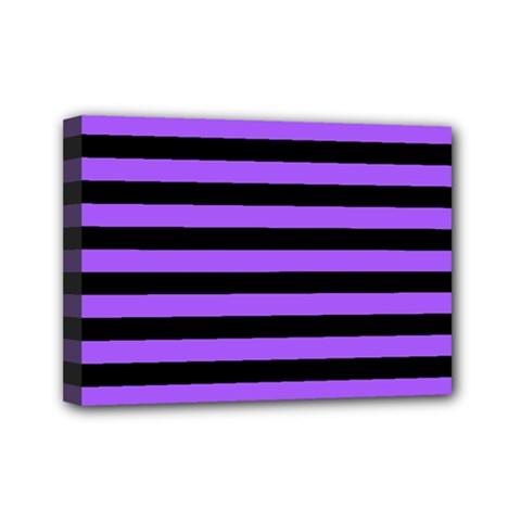 Purple Stripes Mini Canvas 7  X 5  (framed)