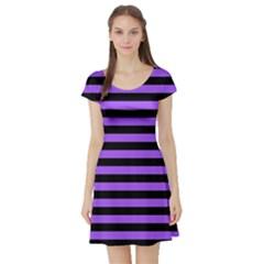 Purple Stripes Short Sleeve Skater Dress