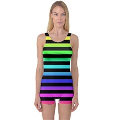 Rainbow Stripes One Piece Boyleg Swimsuit