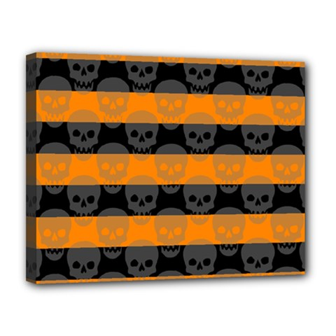 Deathrock Stripes Canvas 14  X 11  (framed)