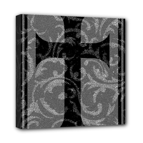 Goth Brocade Cross Mini Canvas 8  X 8  (framed)