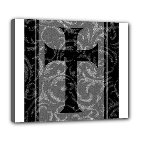 Goth Brocade Cross Deluxe Canvas 24  X 20  (framed)