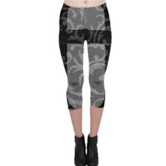 Goth Brocade Cross Capri Leggings