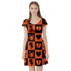 Goth Punk Checkers Short Sleeve Skater Dress
