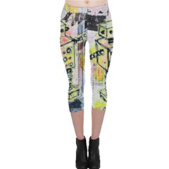 Graffiti Graphic Robot Capri Leggings