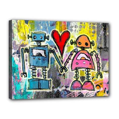 Graffiti Pop Robot Love Canvas 16  X 12  (framed)