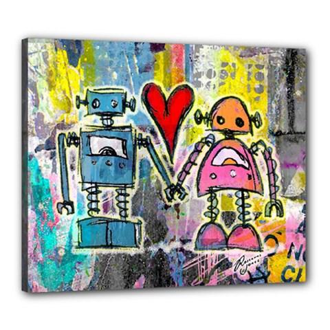 Graffiti Pop Robot Love Canvas 24  X 20  (framed)