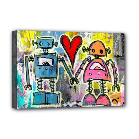 Graffiti Pop Robot Love Deluxe Canvas 18  X 12  (framed)