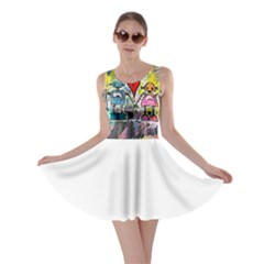 Graffiti Pop Robot Love Skater Dress