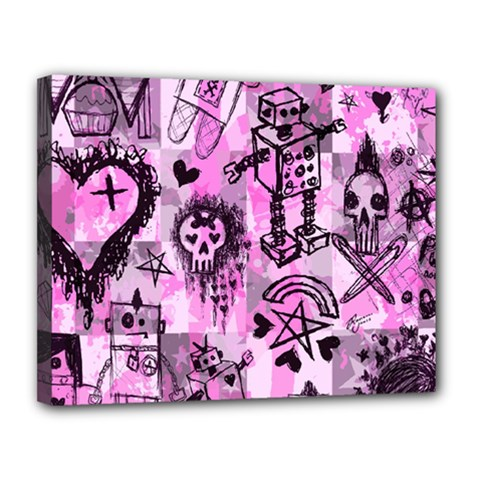 Pink Scene Kid Sketches Canvas 14  X 11  (framed)