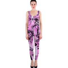 Pink Scene Kid Sketches OnePiece Catsuit