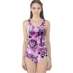 Pink Scene Kid Sketches One Piece Swimsuit