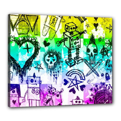 Rainbow Scene Kid Sketches Canvas 24  X 20  (framed)