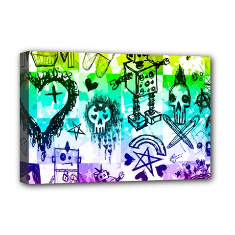 Rainbow Scene Kid Sketches Deluxe Canvas 18  X 12  (framed)