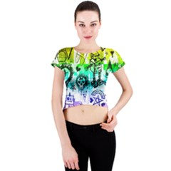Rainbow Scene Kid Sketches Crew Neck Crop Top