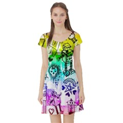 Rainbow Scene Kid Sketches Short Sleeve Skater Dress
