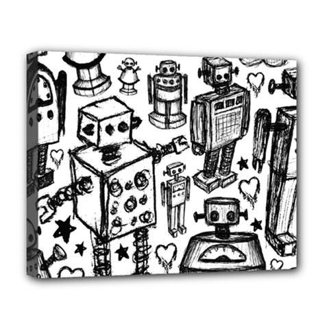 Robot Crowd Deluxe Canvas 20  X 16  (framed)