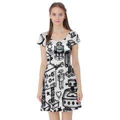 Robot Crowd Short Sleeve Skater Dress