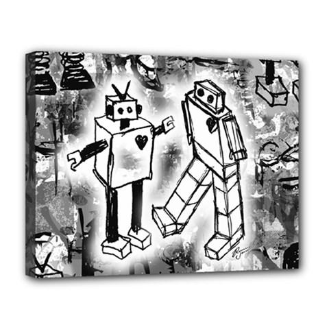 Robot Love Canvas 14  X 11  (framed)