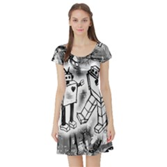 Robot Love Short Sleeve Skater Dress