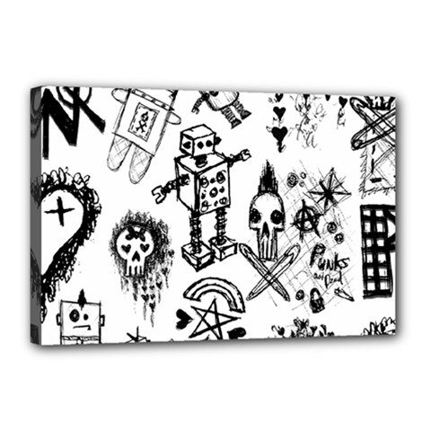 Scene Kid Sketches Canvas 18  X 12  (framed)