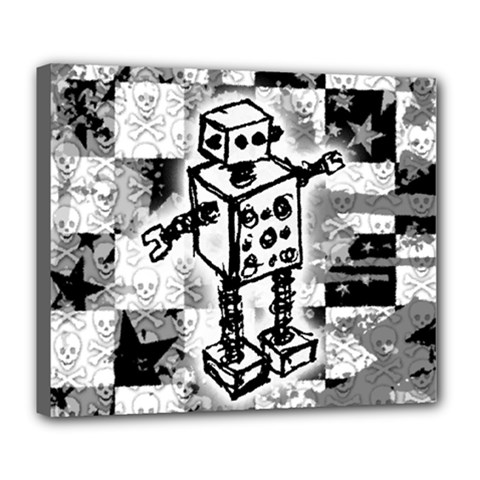 Sketched Robot Deluxe Canvas 24  X 20  (framed)