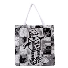 Sketched Robot Grocery Tote Bag