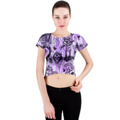 Purple Scene Kid Sketches Crew Neck Crop Top