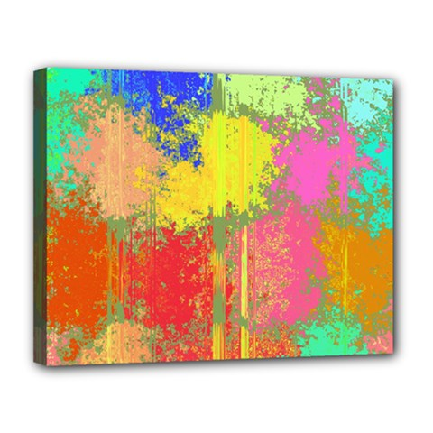 Colorful Paint Spots Canvas 14  X 11  (stretched)