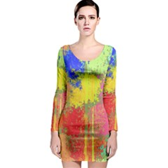 Colorful paint spots Long Sleeve Bodycon Dress