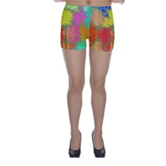 Colorful paint spots Skinny Shorts