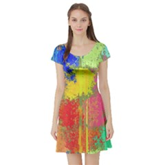 Colorful paint spots Short Sleeve Skater Dress