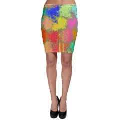 Colorful paint spots Bodycon Skirt