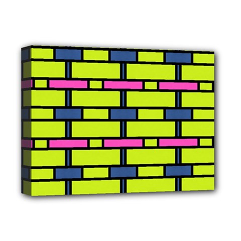 Pink,green,blue Rectangles Pattern Deluxe Canvas 16  X 12  (stretched)