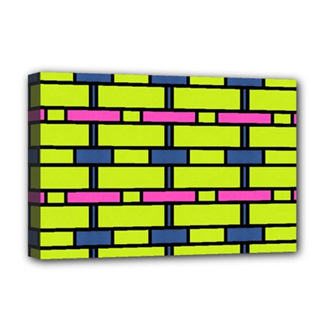 Pink,green,blue Rectangles Pattern Deluxe Canvas 18  X 12  (stretched)