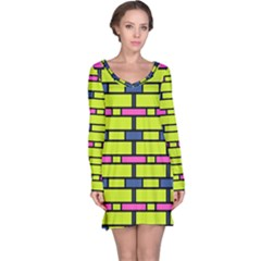 Pink Green Blue Rectangles Pattern Nightdress