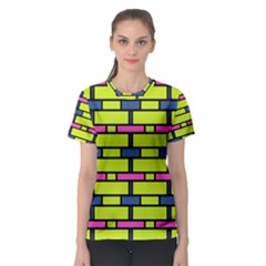 Pink green blue rectangles pattern Women s Sport Mesh Tee