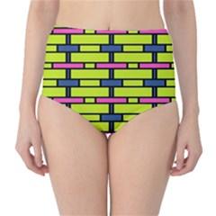 Pink green blue rectangles pattern High-Waist Bikini Bottoms