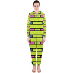 Pink green blue rectangles pattern Hooded OnePiece Jumpsuit