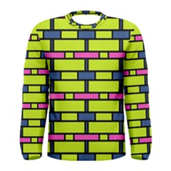 Pink green blue rectangles pattern Men Long Sleeve T-shirt