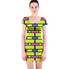 Pink green blue rectangles pattern Short sleeve Bodycon dress