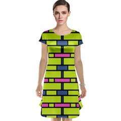 Pink green blue rectangles pattern Cap Sleeve Nightdress