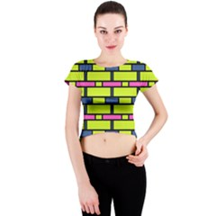 Pink Green Blue Rectangles Pattern Crew Neck Crop Top