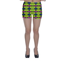 Pink green blue rectangles pattern Skinny Shorts