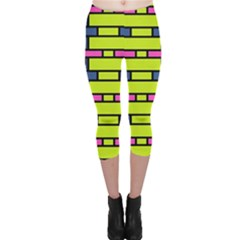 Pink green blue rectangles pattern Capri Leggings