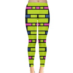 Pink green blue rectangles pattern Winter Leggings